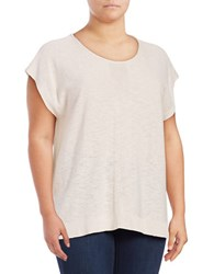 Jones New York Plus Extended Shoulder Woven Blouse Grey