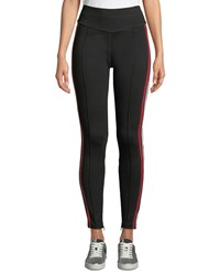Current Elliott The Sun High Waist Sporty Racer Stripe Track Pants Black Pattern