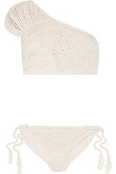Tabula Rasa Hathor Macrame Silk And Cotton Blend One Shoulder Bikini Ecru