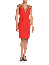 Basix Black Label Embellished Cap Sleeve Dress Red