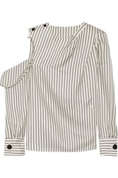 Monse One Shoulder Pinstriped Silk Twill Blouse Cream
