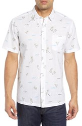 Kahala Local Time Print Linen And Cotton Sport Shirt White