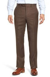 John W. Nordstrom Torino Traditional Fit Flat Front Solid Wool And Cashmere Trousers Brown
