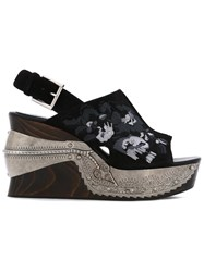 Alexander Mcqueen Embroidered Clog Sandals Black