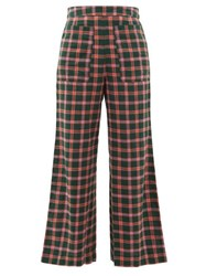 Ace And Jig Laura Checked Cotton Wide Leg Trousers Green Multi