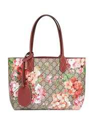 Gucci Reversible Gg Blooms Leather Tote Women Leather One Size Brown