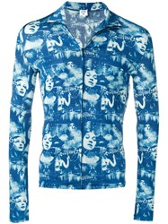 Jean Paul Gaultier Vintage Faces Print Zipped Top Blue