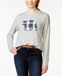 G.H. Bass And Co. Plaid Bear Applique Sweater Heather Grey