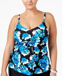 Island Escape Plus Size Floral Drift Underwire Tankini Top Women's Swimsuit Blue Multi