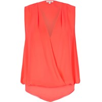 River Island Womens Pink Wrap Blouse Bodysuit