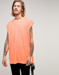 Asos Oversized Sleeveless T Shirt In Fluro Coral Fluro Coral Orange