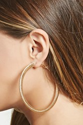 Forever 21 Spiral Chain Hoop Earrings Gold