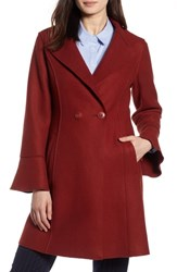 Halogen Raw Edge Bell Sleeve Coat Brick