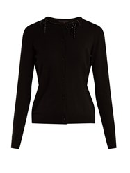 Simone Rocha Bead Embellished Knit Cardigan Black