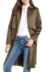 Scotch And Soda Shiny Structured Trench Coat Military Green