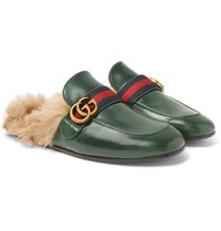 Gucci Princetown Webbing Trimmed Shearling Lined Leather Backless Loafers Green