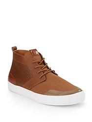 French Connection Cache Perforated Leather And Twill Sneakers Cognac