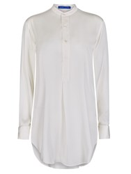 Winser London Long Length Silk Tunic Shirt White