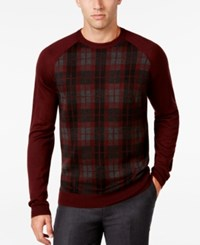 Ryan Seacrest Distinction Men's Plaid Front Sweater Only At Macy's Cordovan
