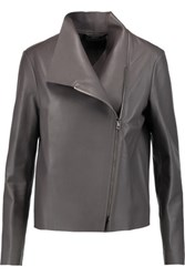 Joseph Libra Leather Biker Jacket Dark Gray