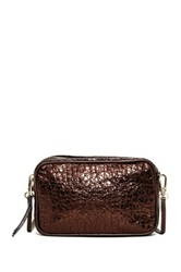 Abro Reptile Embossed Leather Crossbody Clutch Brown