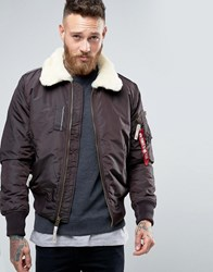 Alpha Industries Bomber Jacket With Sheep Fur Collar In Slim Fit Brown Br1 Brown 1