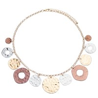 John Lewis Hammered Mixed Metal Disc Necklace Multi