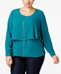 Ny Collection Plus Size Zip Front Popover Blouse Shaded Spruce