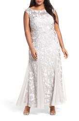 Alex Evenings Plus Size Women's Soutache Stretch Tulle A Line Gown Platinum