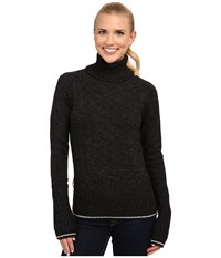 Icebreaker Aura Long Sleeve Turtleneck Black Jet Heather Women's Sweater