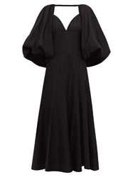Khaite Joanne Balloon Sleeve Cotton Maxi Dress Black