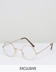Reclaimed Vintage Round Glasses With Clear Lens Gold Silver