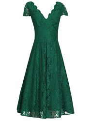 Jolie Moi Cap Sleeve Scalloped Dress Green