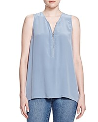 The Kooples Half Zip Silk Tank Blue