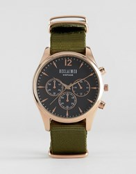 Reclaimed Vintage Chronograph Canvas Watch In Olive Green