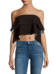 Kendall Kylie Strapless Cropped Top Black