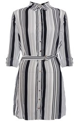Quiz White Stripe Belt Shirt Dress