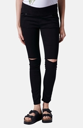 Topshop Moto 'Leigh' Ripped Maternity Jeans Black Regular Short And Long
