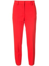 Msgm Cropped Trousers Polyester Spandex Elastane Viscose Red