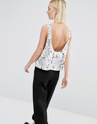Dr. Denim Dr Denim Scoop Back Drop Arm Tank With Oil Print White
