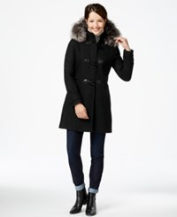 Nautica Faux Fur Trim Duffle Coat Black