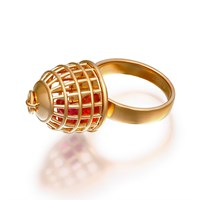 Openjart Cage Ring With Pink Stone Gold