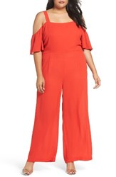 Glamorous Plus Size Women's Off The Shoulder Jumpsuit Red