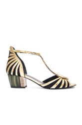 Rodarte Embossed Leather Sandals In Metallics Animal Print