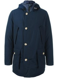 Woolrich Buttoned Hooded Coat Blue