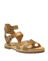 Timberland Natoma Textured Leather Ankle Strap Sandals Beige