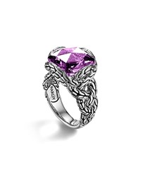 John Hardy Sterling Silver Classic Chain Medium Braided Ring With Amethyst Purple Silver