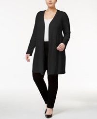 Alfani Plus Size Open Front Knit Cardigan Only At Macy's Deep Black
