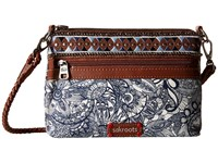 Sakroots Artist Circle Campus Mini Navy Spirit Desert Cross Body Handbags Gray