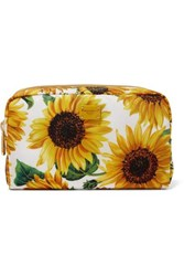 Dolce And Gabbana Printed Twill Cosmetics Case Yellow